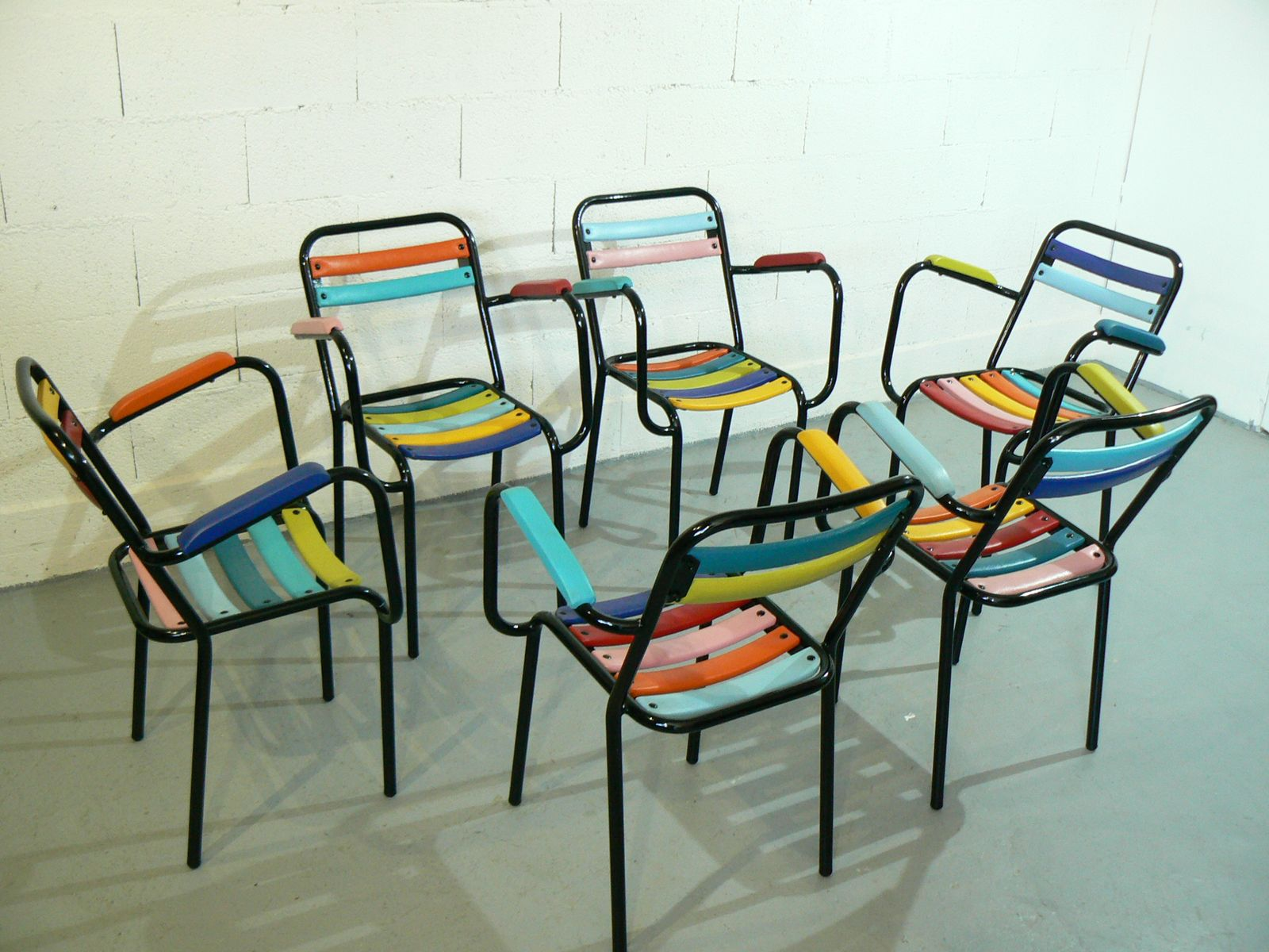 French Stackable Armchairs, 1950s, Set Of 6