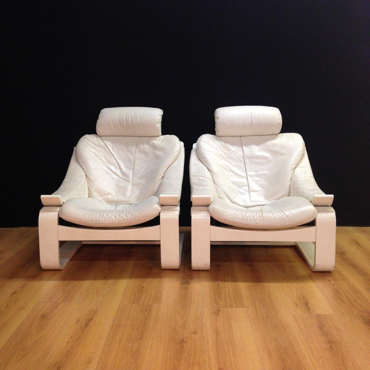 Weiße Vintage Kroken Leder Sessel von Åke Fribytter für Nelo