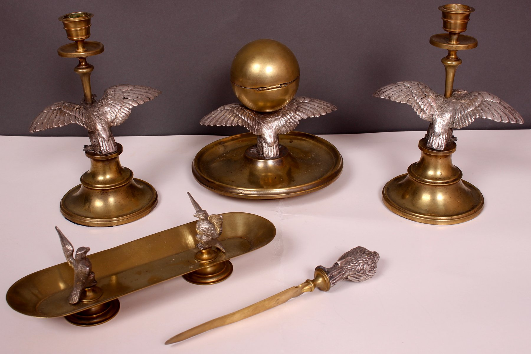 Antique Silver Gilt Brass Desk Set