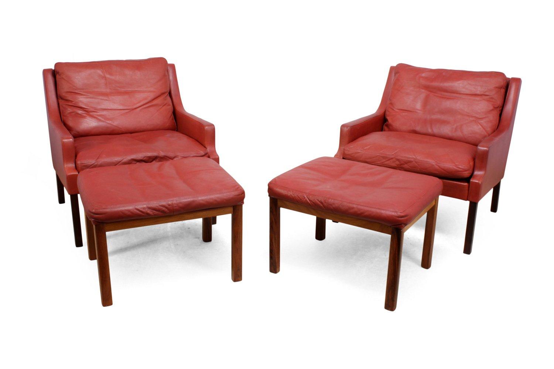 Rote Leder Sessel aus Palisander mit Hocker von Rud Thygesen & Johnny ...