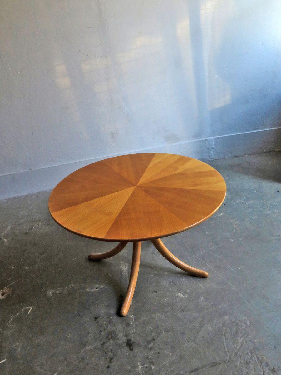 Vintage Birke Tisch mit geschwungenen Beinen & Furnierplatte in Iris O...