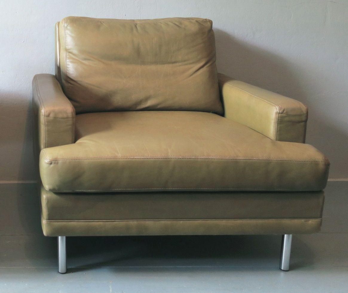 Mid-Century Leder Sessel in hellem Pistaziengrün von Dux