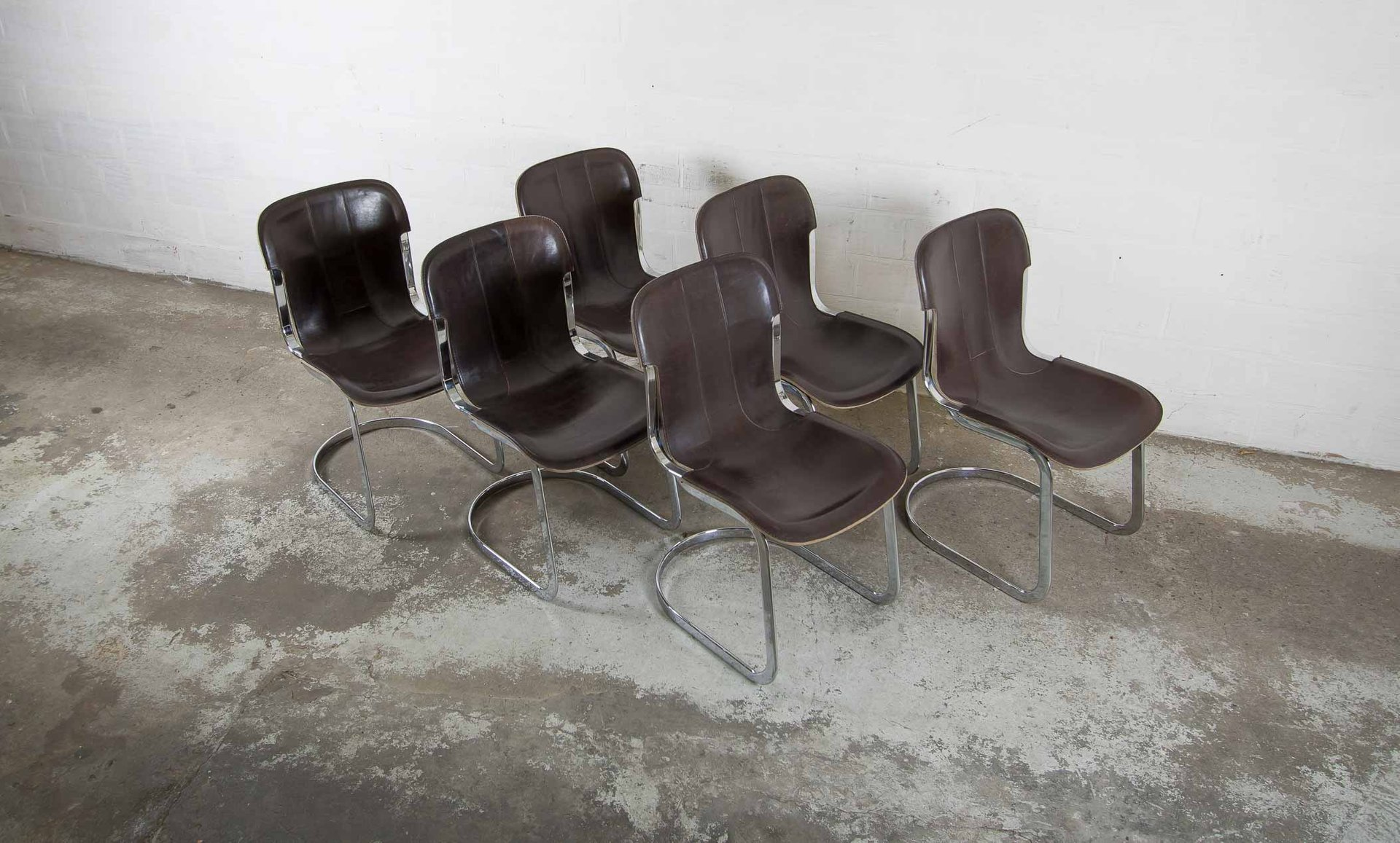 Sedie Vintage Pelle : Sedie vintage in metallo cromato e pelle di willy rizzo per cidue