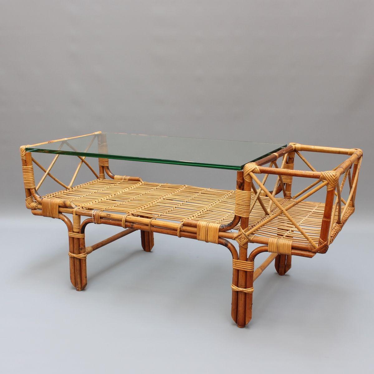 Bambus rattan couchtisch mit glas top 1960er bei pamono - Bambus couchtisch ...
