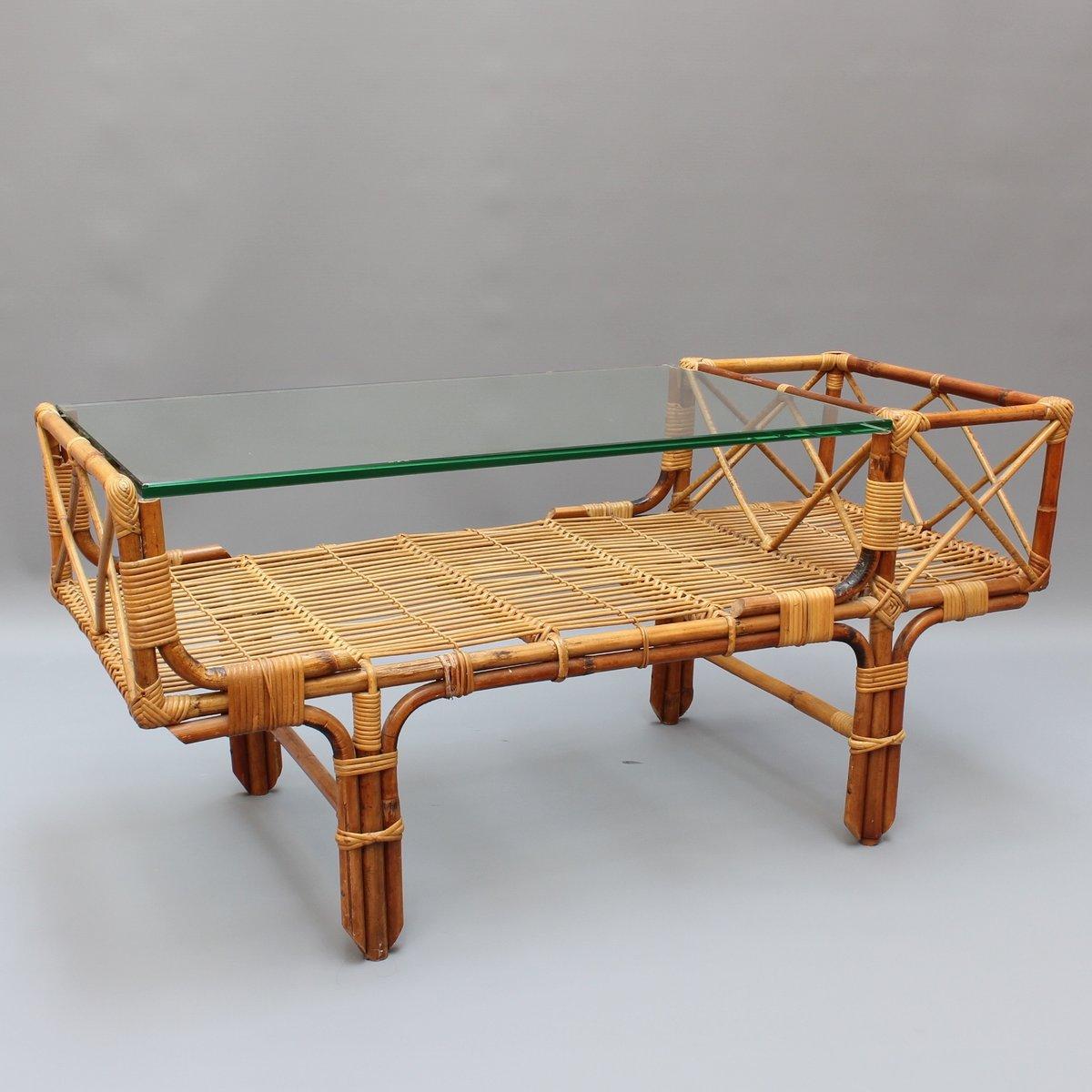Bambus rattan couchtisch mit glas top 1960er bei pamono - Couchtisch bambus ...