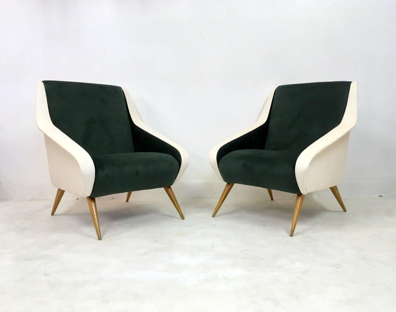 Italienische Samt Sessel In Grun Weiss 1950er 2er Set Bei Pamono