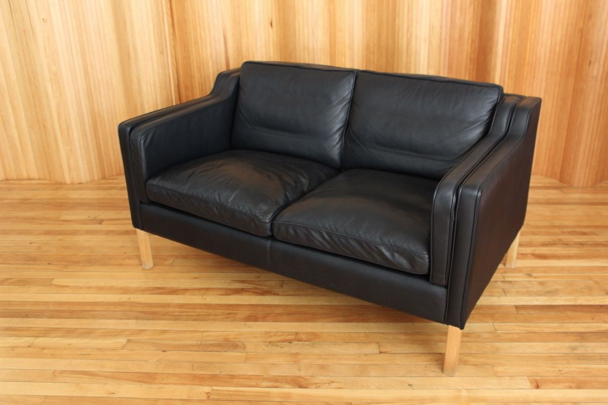 Black Two Seater Leather Sofa From Stouby 1970s 9 1 431 00 Price Per Piece