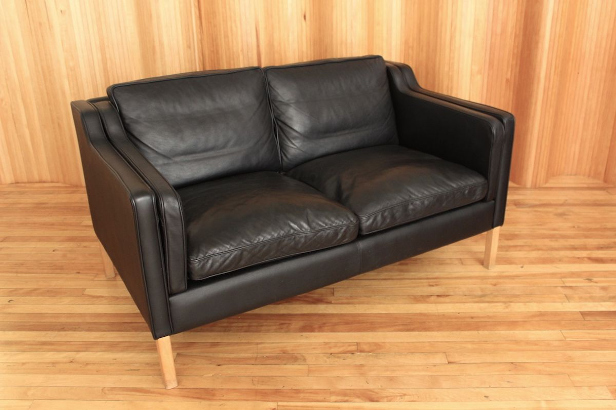 Black Two Seater Leather Sofa From Stouby 1970s For Sale At Pamono