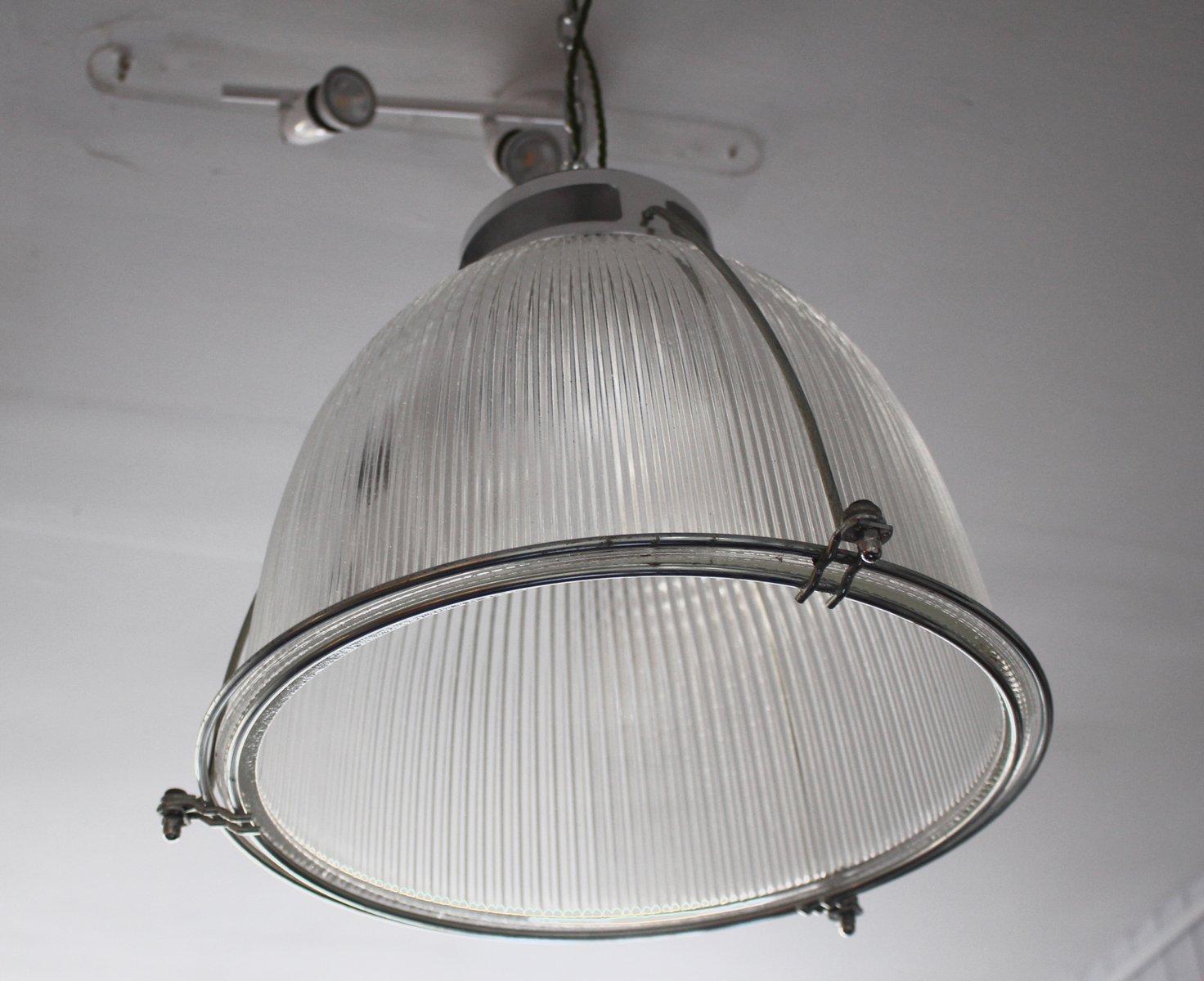 Industrielle Vintage Glas & Metall Deckenlampe von Holophane