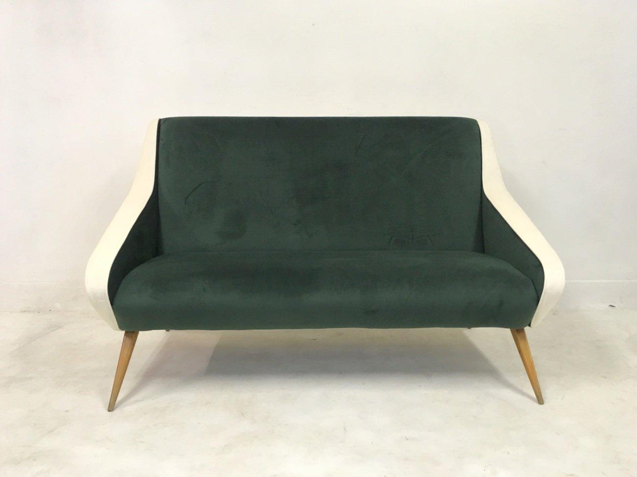 Faszinierend Sofa Grün Galerie Von Italienisches Samt In Grün & Weiß, 1950er