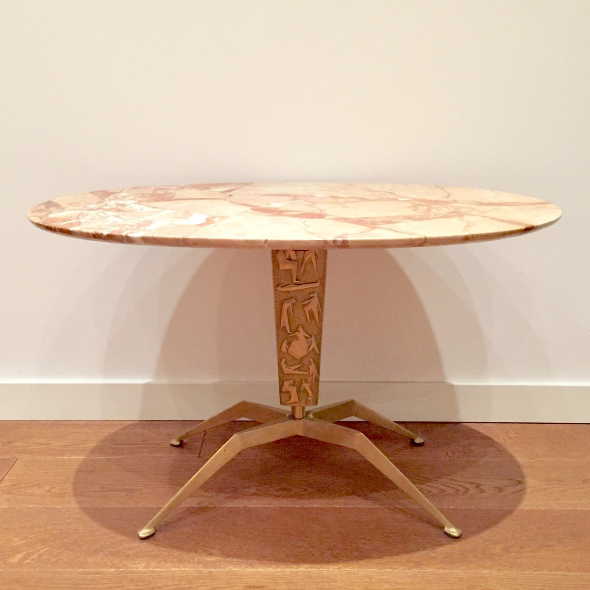 Brass pink marble coffee table 1950s