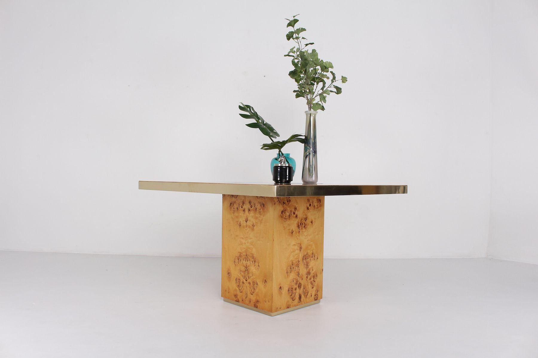 quadratischer vintage tisch aus messing wurzelholz bei pamono kaufen. Black Bedroom Furniture Sets. Home Design Ideas