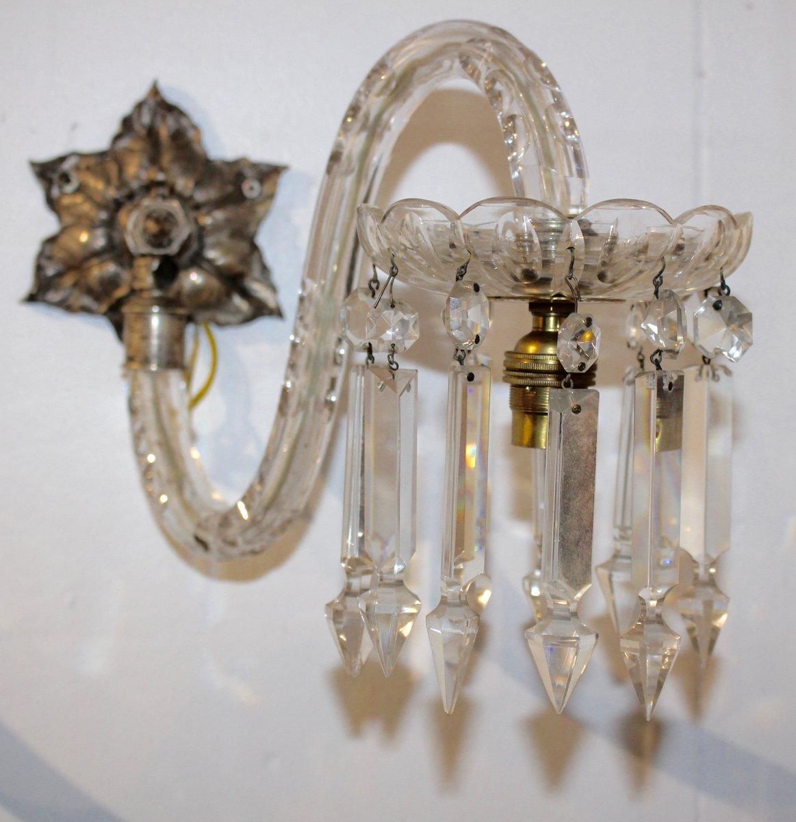 Antike Kristallglas Wandleuchten, 2er Set