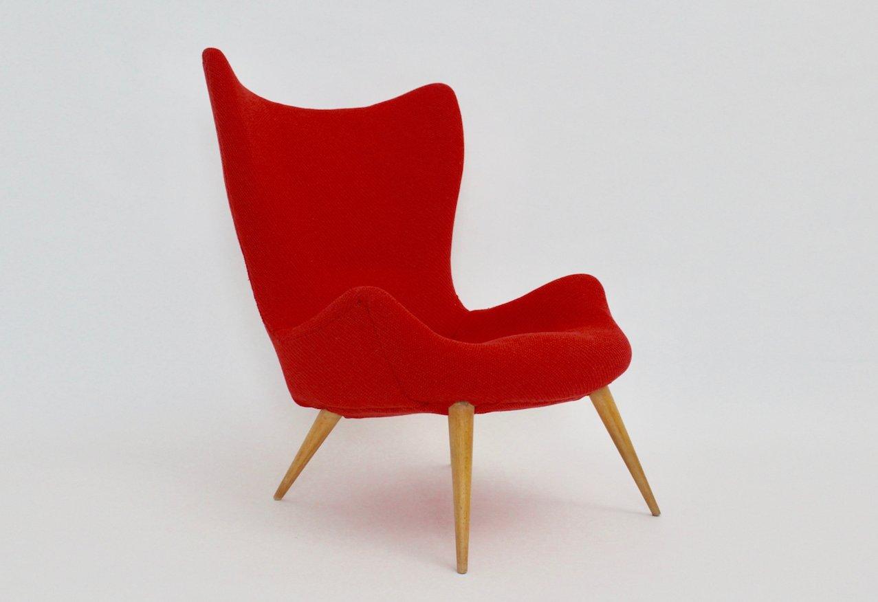 Roter Mid-Century Modern Sessel, 1950er