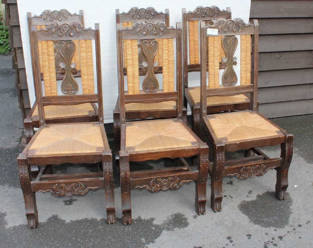 Carved Oak Breton High Back Dining Chairs With Rush Seats 1920s Set Of 6