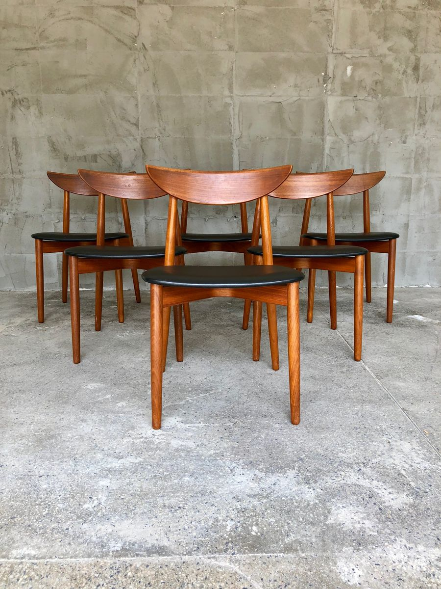 d nische teak st hle von harry ostergaard 1960er 6er set bei pamono kaufen. Black Bedroom Furniture Sets. Home Design Ideas