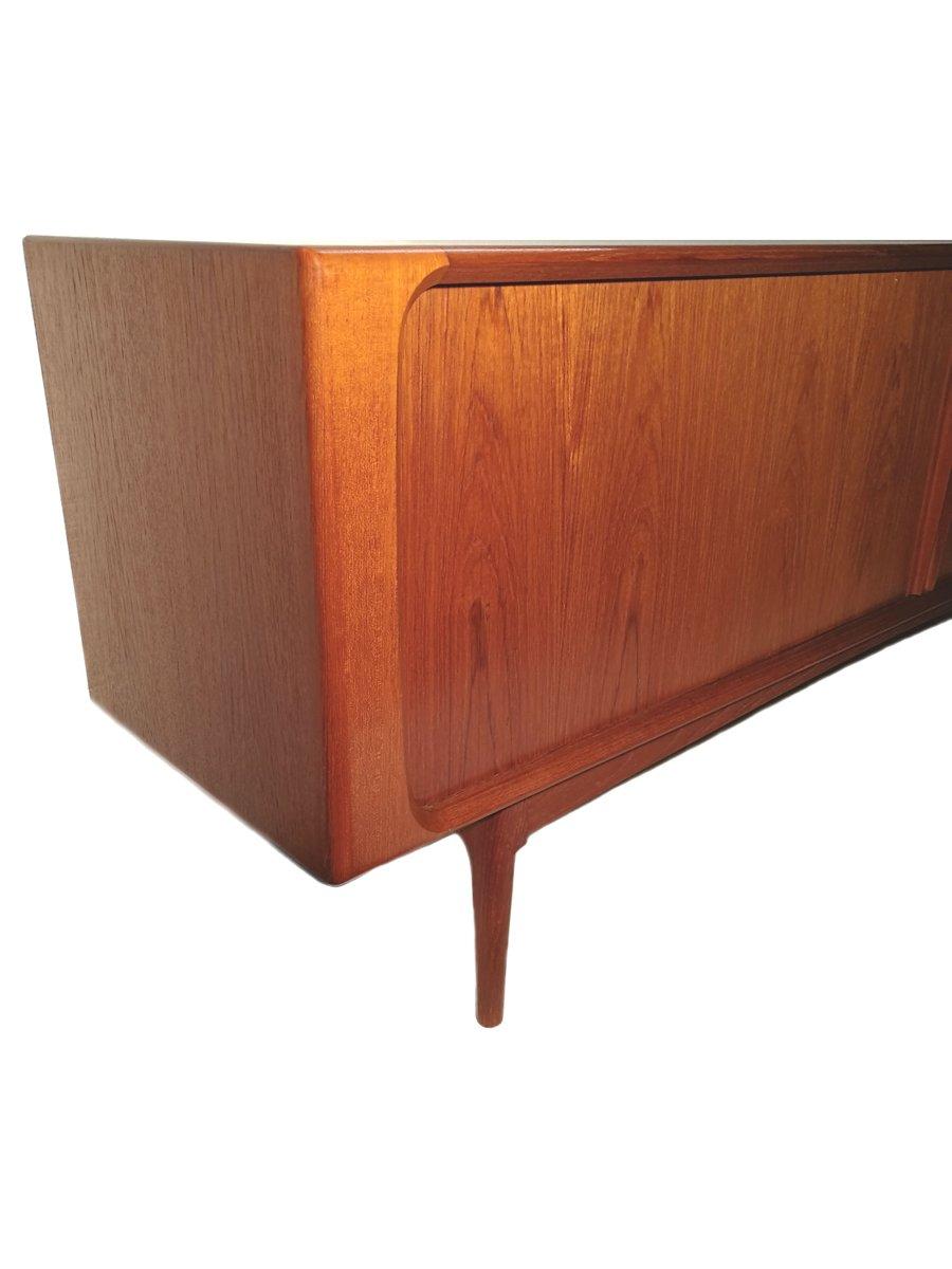 teak tambour door sideboard by bernhard pedersen son 1960s for sale at pamono. Black Bedroom Furniture Sets. Home Design Ideas