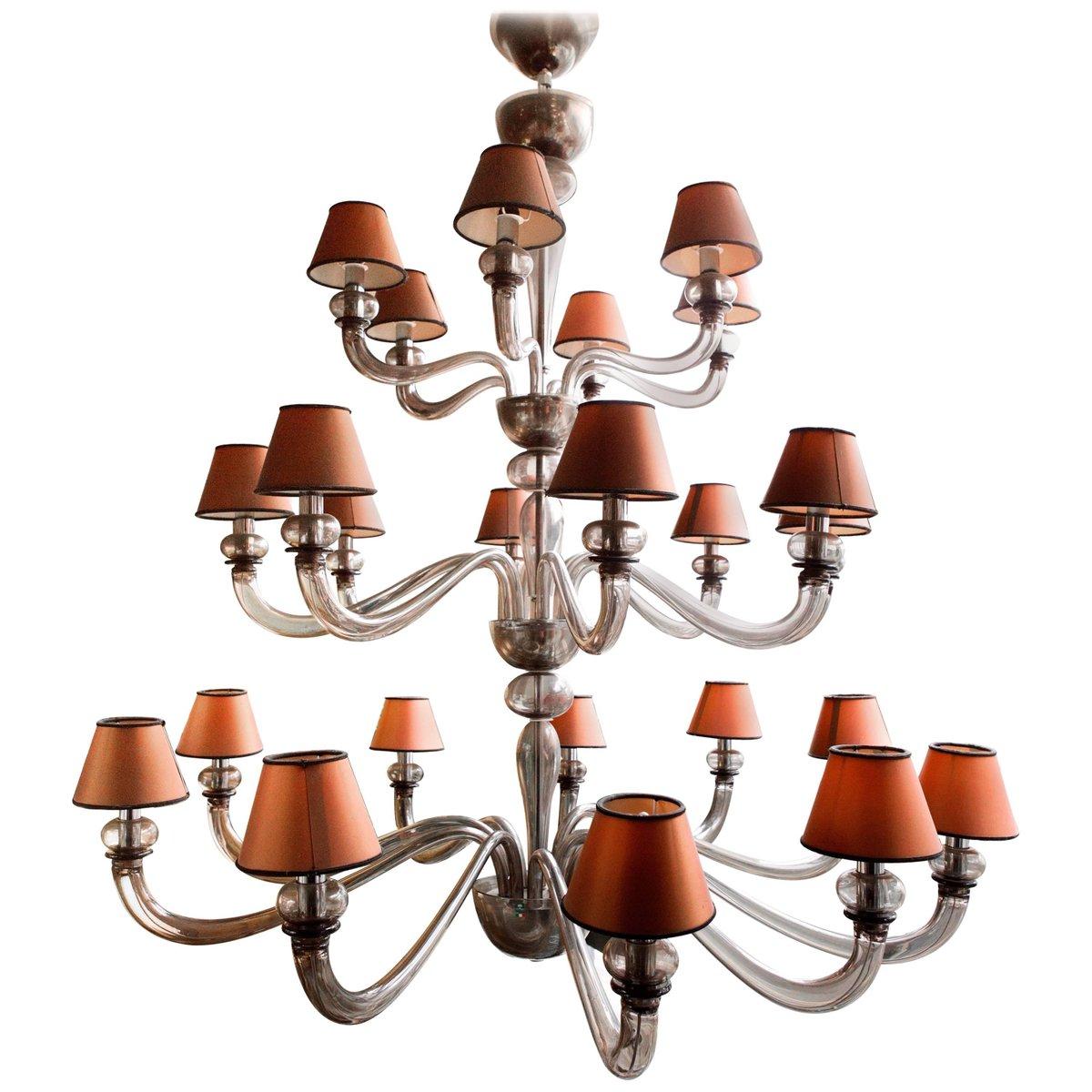 Vintage Murano Glas Kronleuchter mit 24 Leuchten von De Majo für S.A.L...