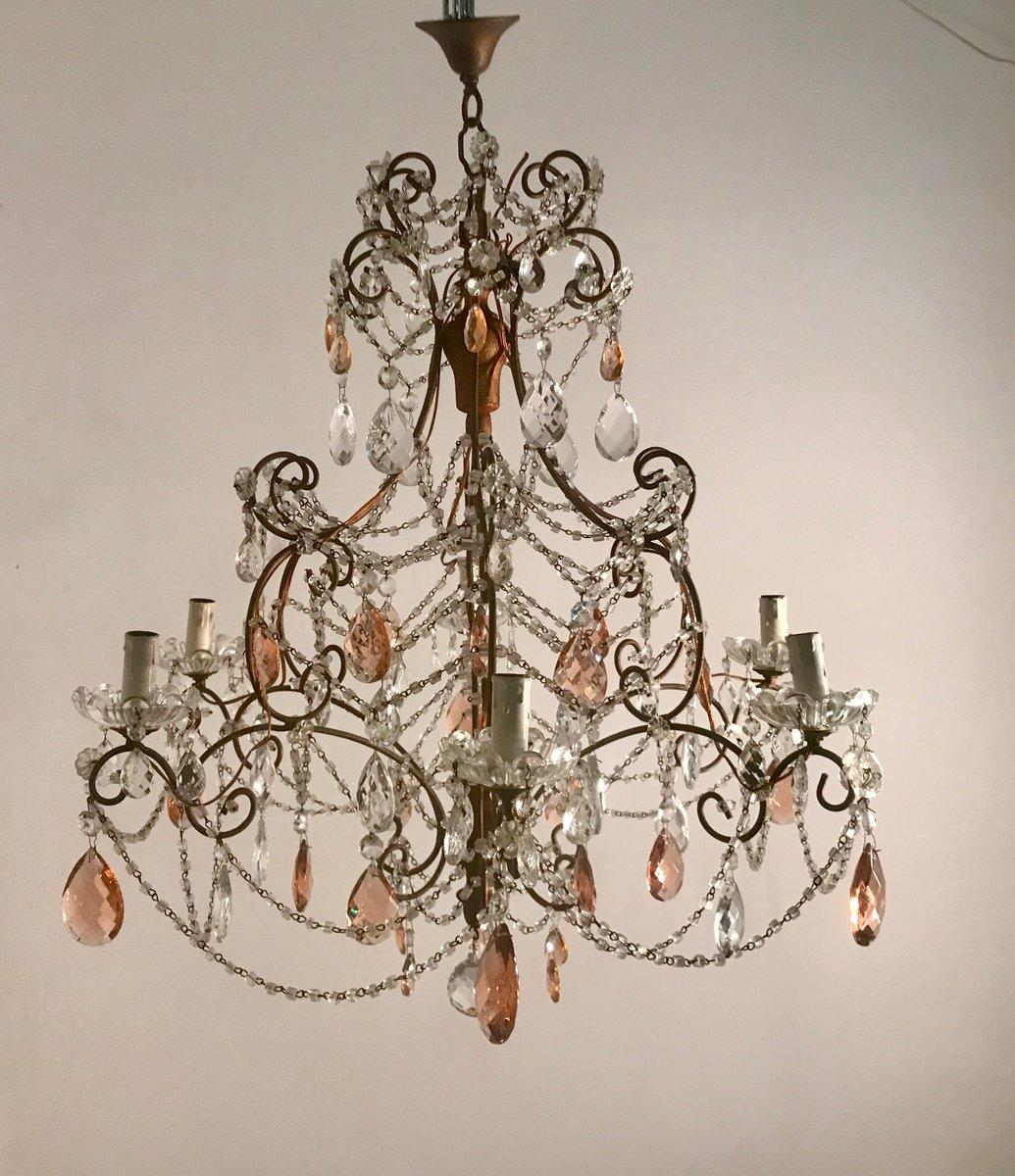 Großer Vintage Kronleuchter mit klaren und rosafarbenen Kristallglastr...