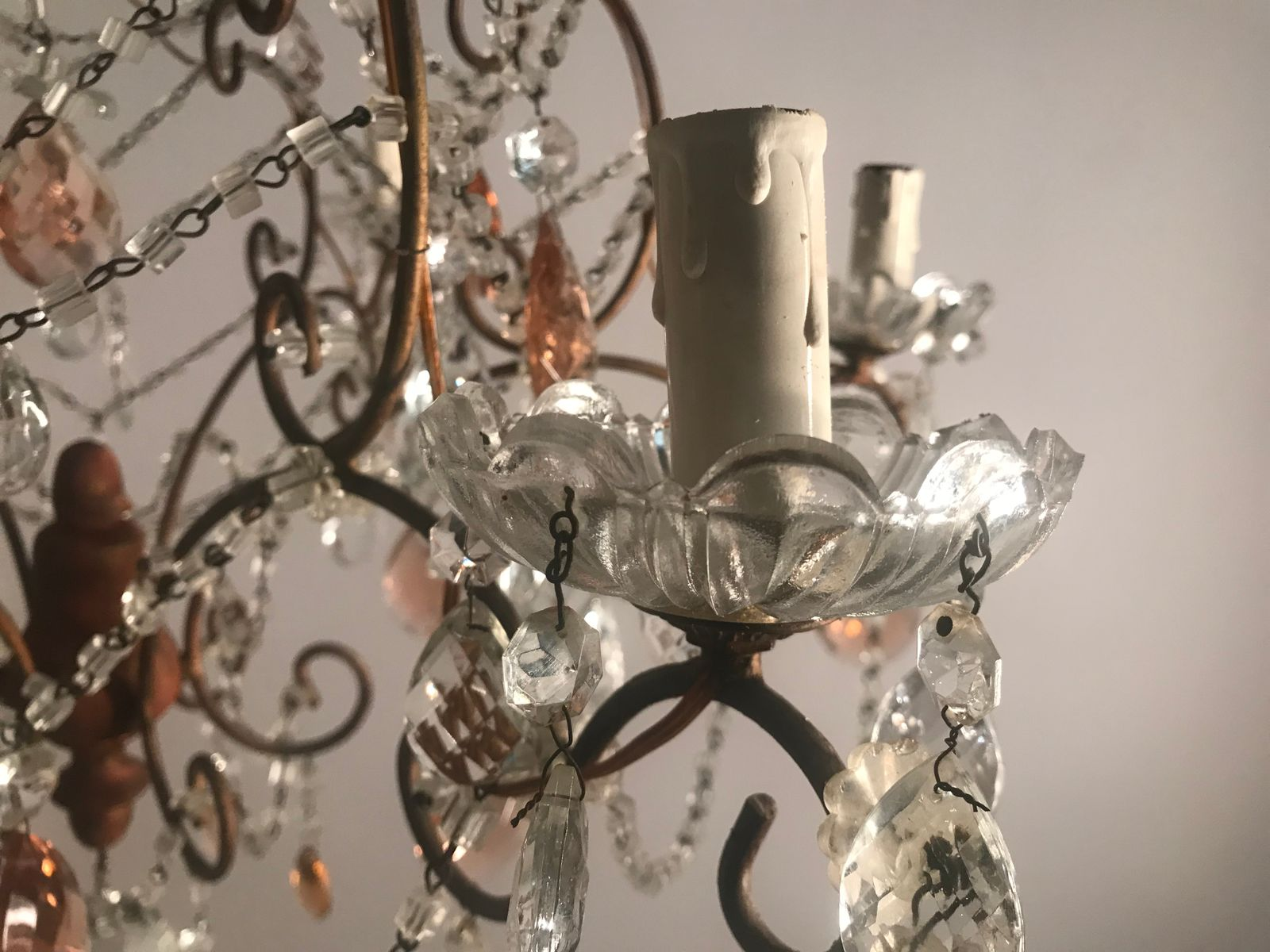 Lampadario Rosa Cristallo : Lampadario grande vintage con perle in cristallo e gocce