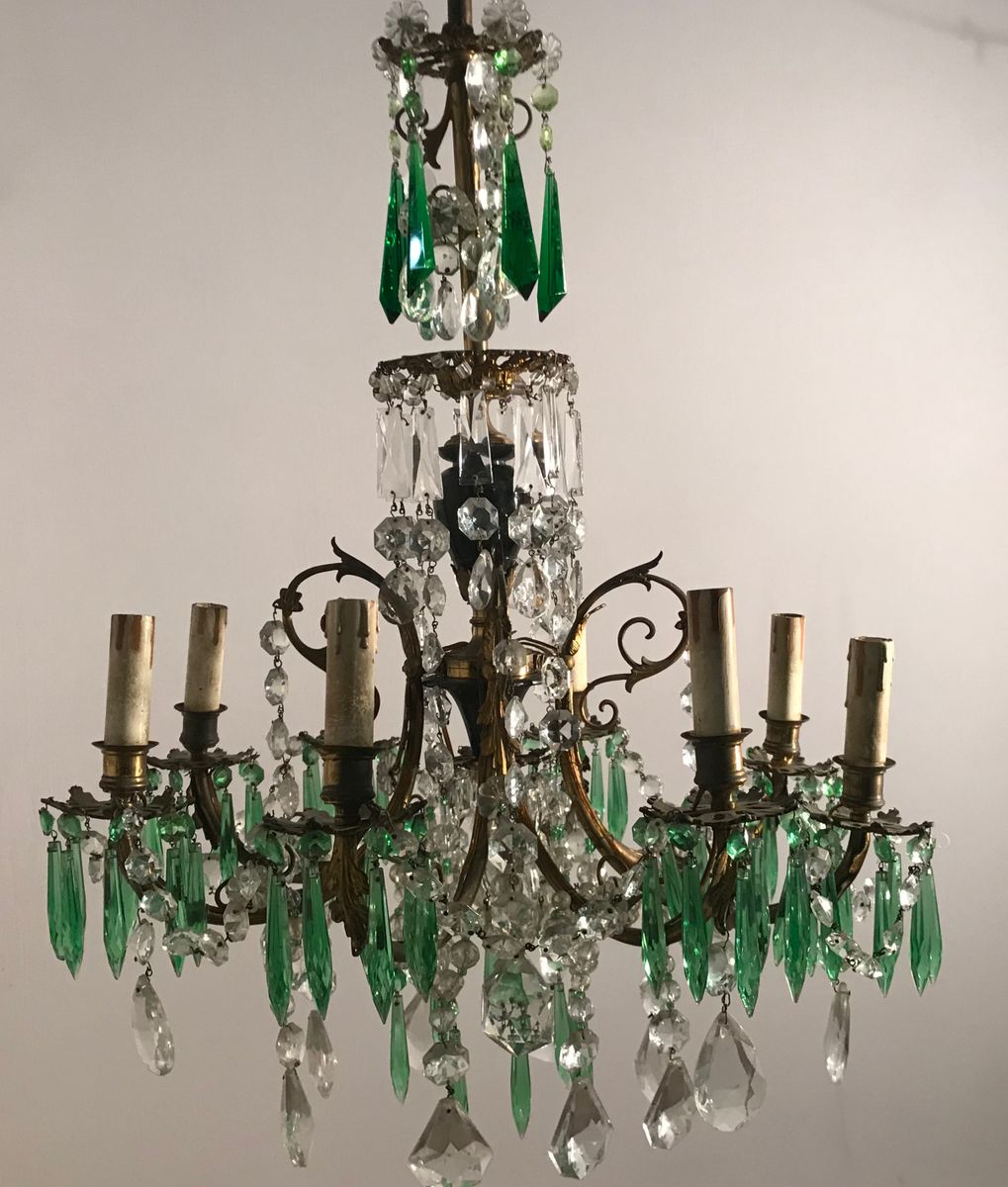 Vintage Crystal Chandelier With Green Pendants