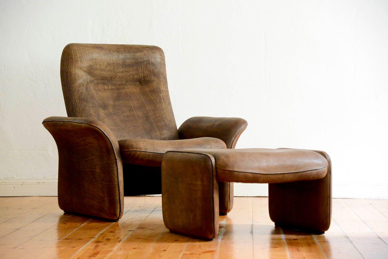 Vintage DS 50 Buffalo Sessel mit Fußhocker von de Sede