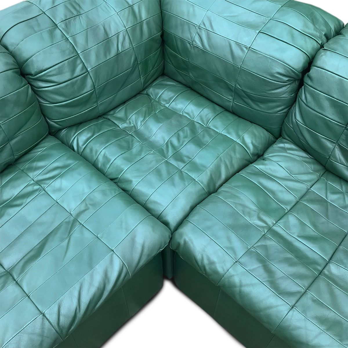Mid-Century Modular Sofa With Green Leather Patchwork From
