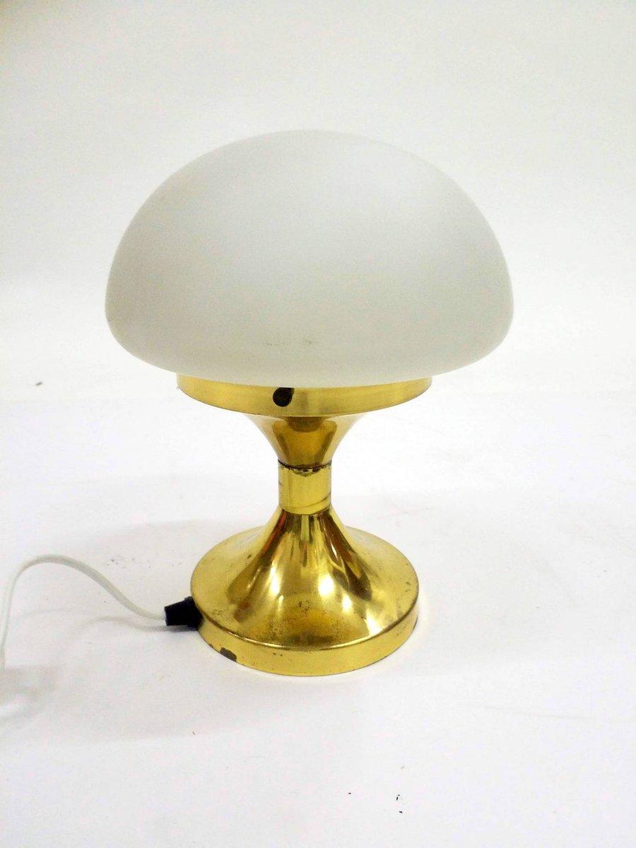 Vintage Lampe aus Messing mit Opalglasschirm