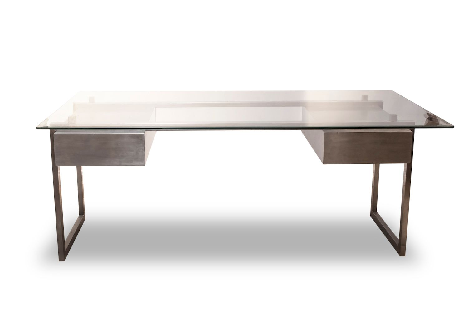 Brushed Stainless Steel President Desk With Glass Top 1970s