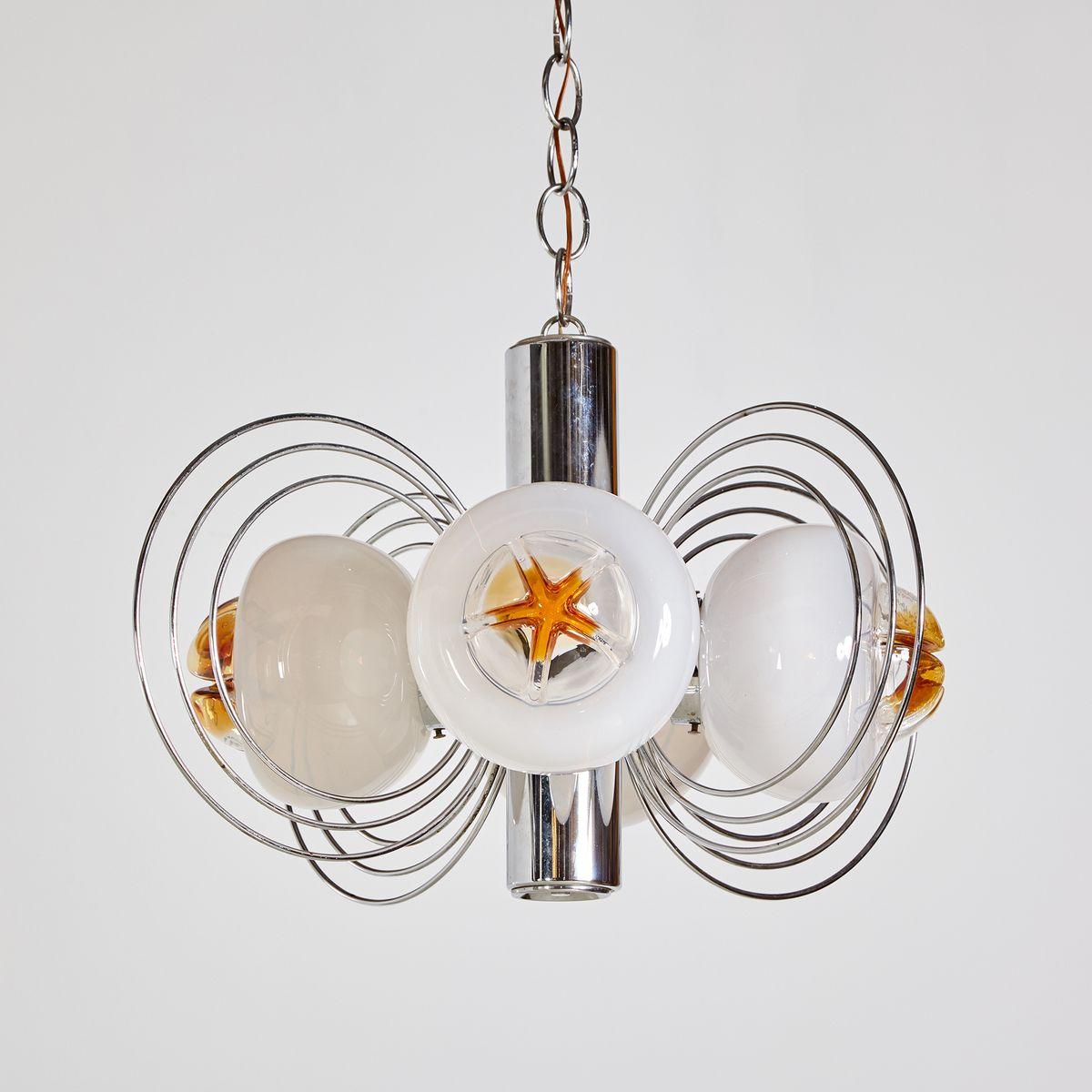 4-Leuchten Murano Glas Hängelampe, 1970er