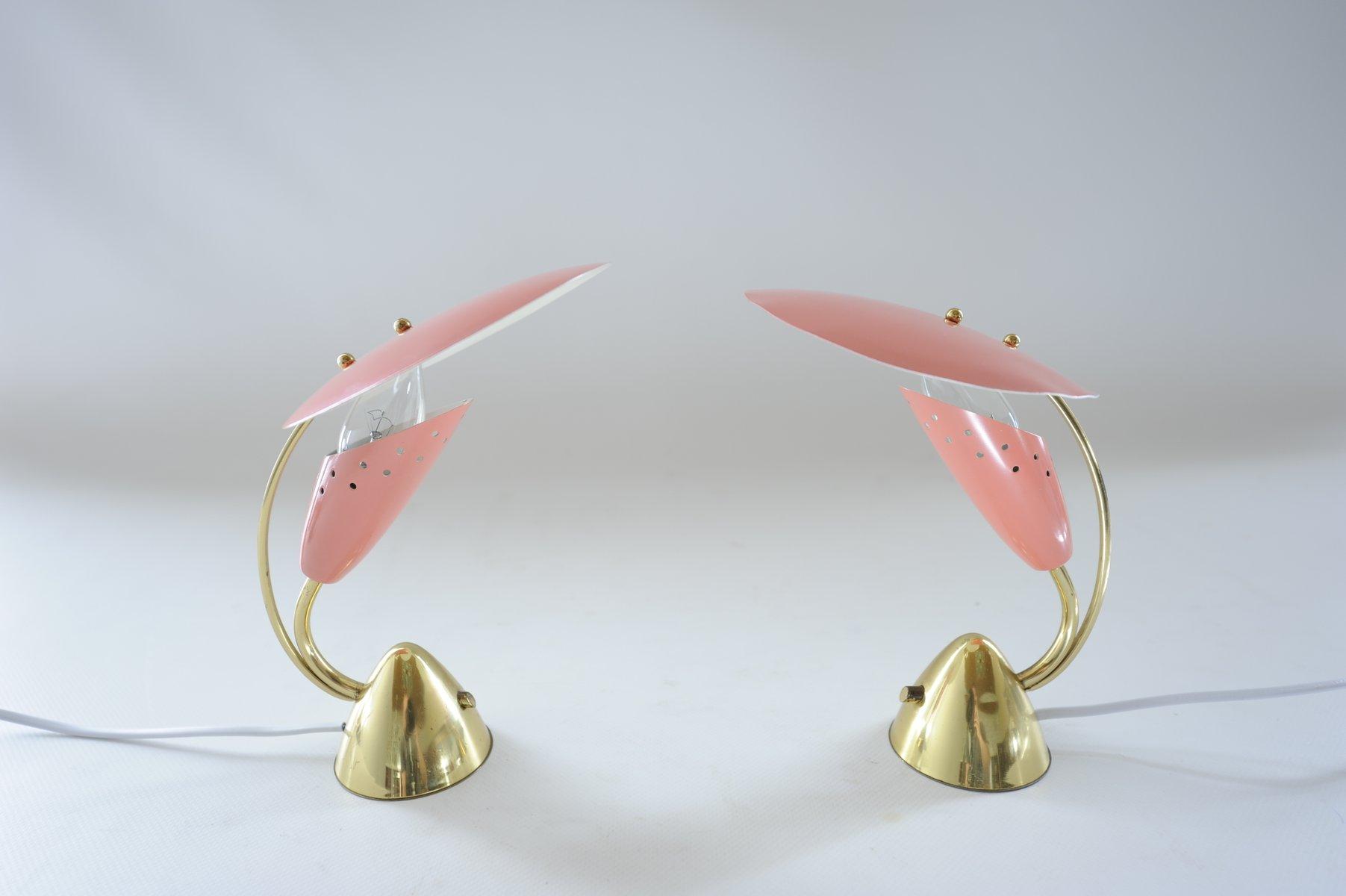 Metall Schreibtischlampen aus Messing & rosa Metall von Arredoluce, 19...