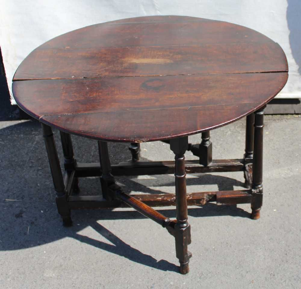Antique Oak Gateleg Table With Gun Barrel Legs