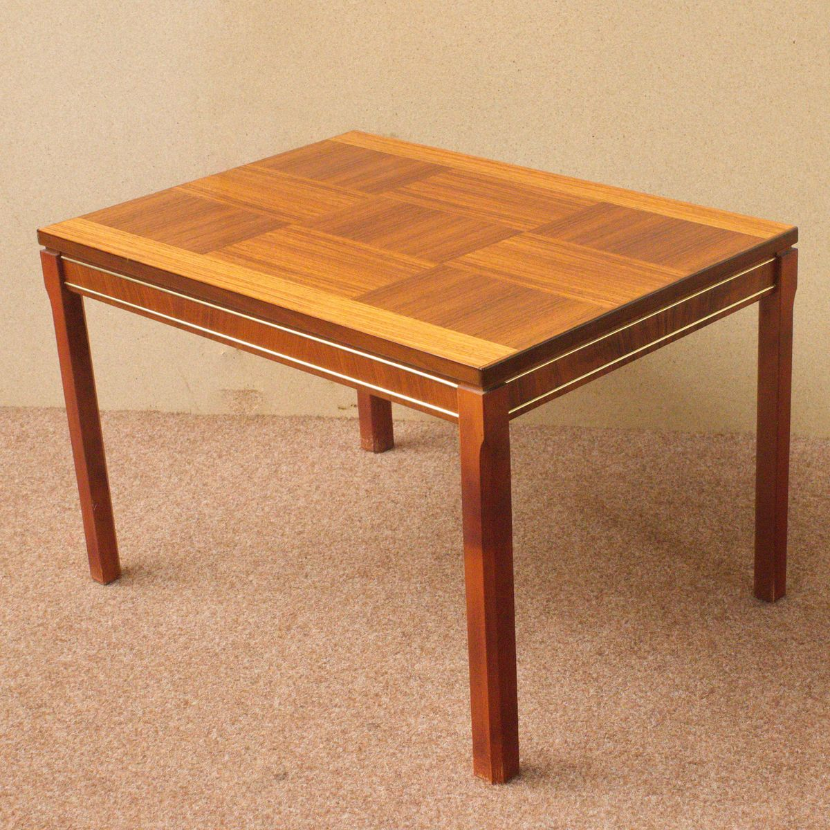 Small Rosewood Teak Side Table With Checkerboard Pattern S - Teak side table with drawer