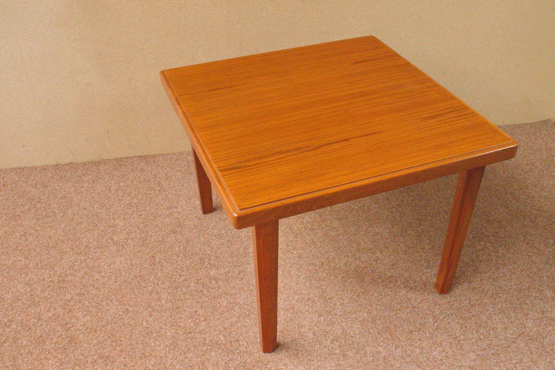 Kleiner Quadratischer Teak Tisch, 1960er