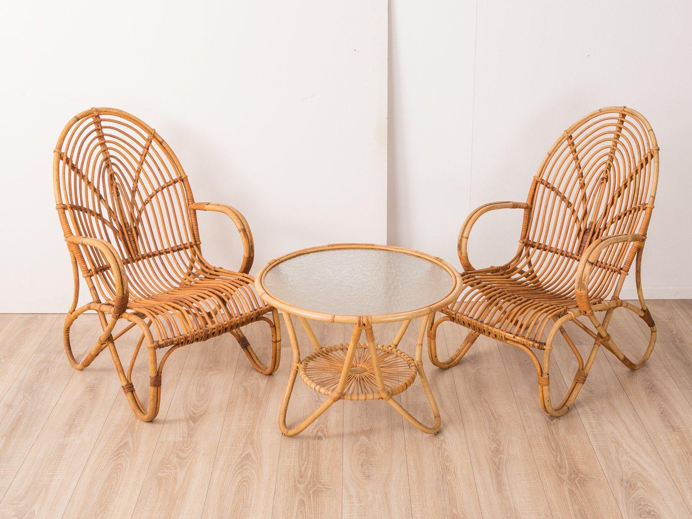 Bambus Tisch & 2 Sessel von Rohé Noordwolde, 1960er