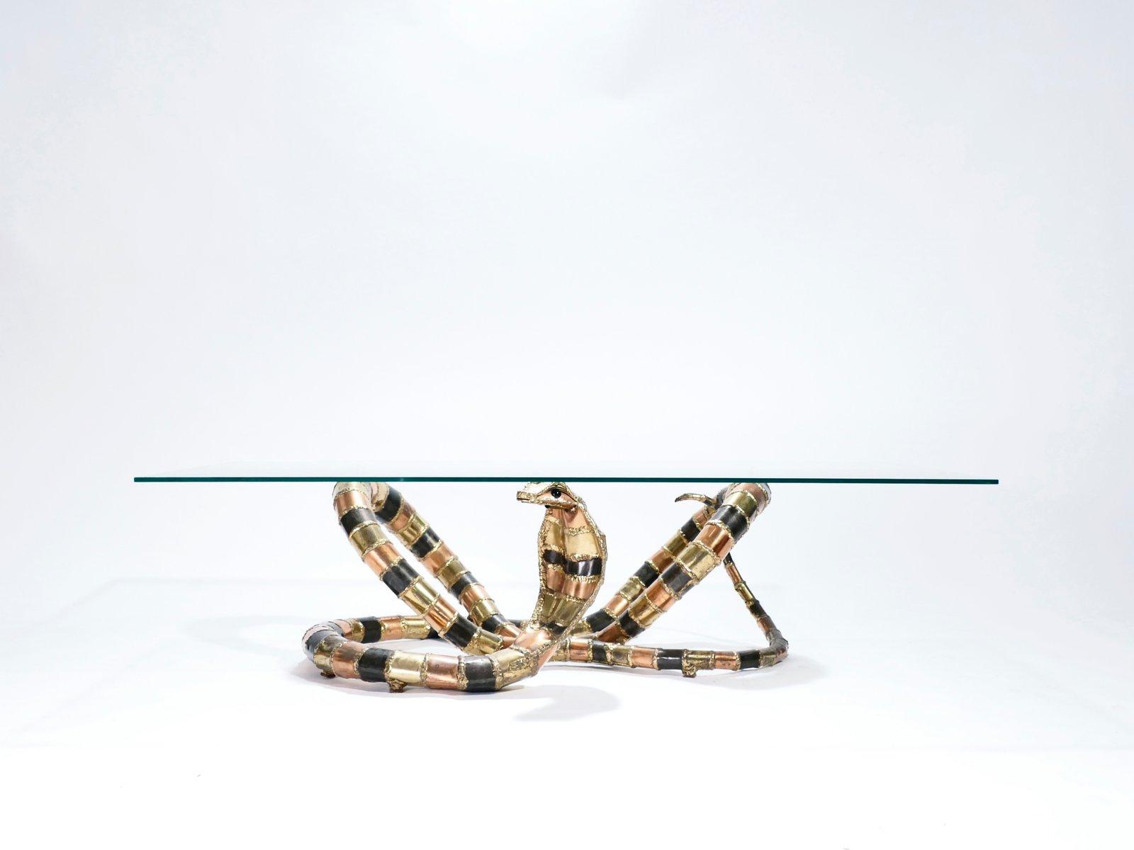 Couchtisch mit Cobra Skulptur aus Bronze & Messing von Isabelle Faure ...