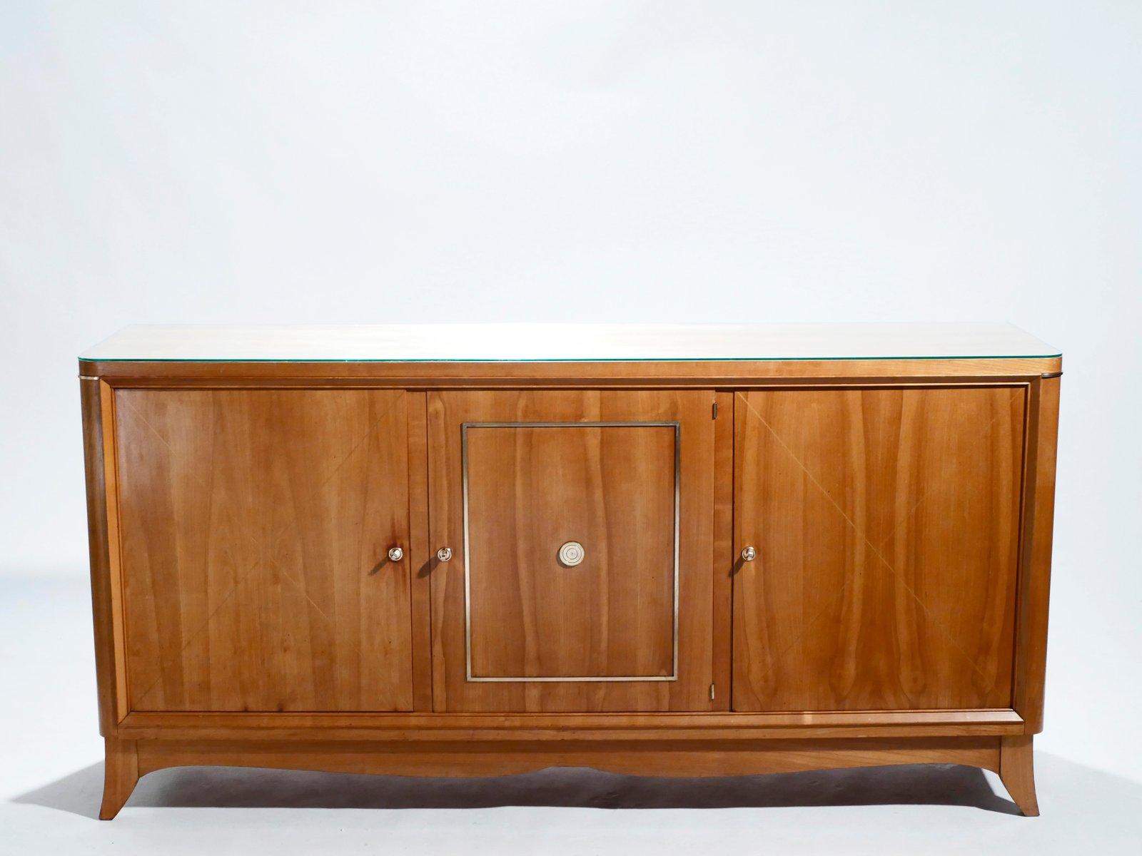 Modernes Sideboard aus Kirsche & Messing von Jacques Adnet, 1950er