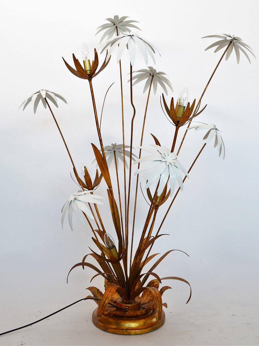 Vergoldete Vintage Stehlampe mit Blumen von Hans Kögl, 1970er