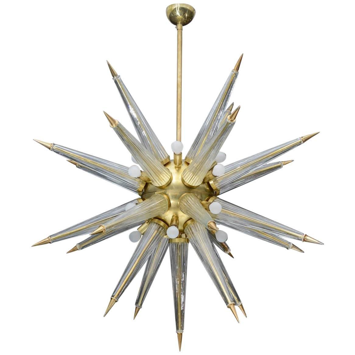 Messing Sputnik Kronleuchter mit Murano Glas Spitzen, 1970er