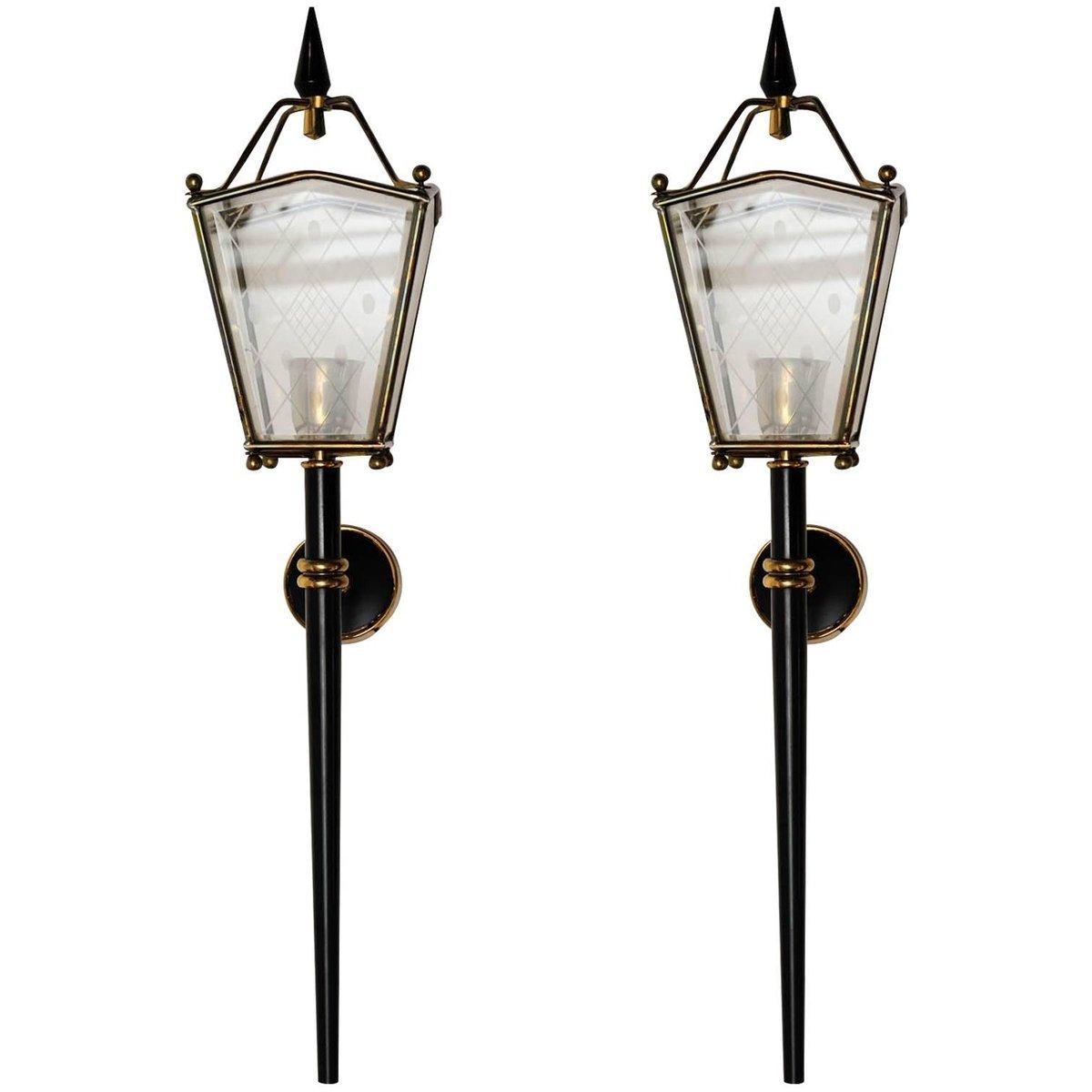 Schwarze Metall, Messing & Glas Wandleuchten, 1960er, 2er Set