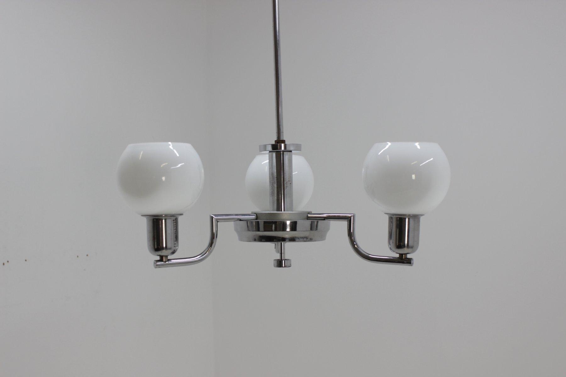Tschechischer Art Deco Kronleuchter aus verchromtem Metall & Glas von ...