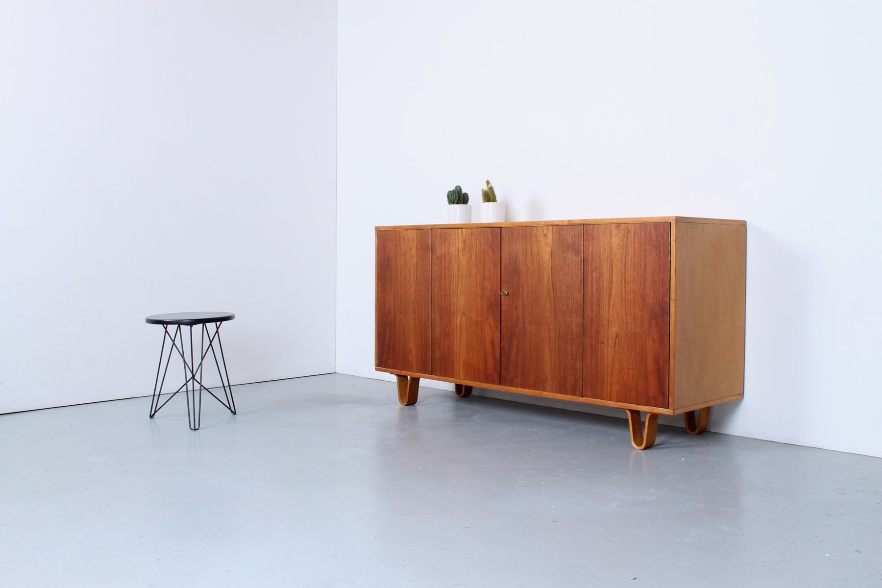 Two Tone Teak And Birch Plywood Cabinet By Cees Braakman For Pastoe, 1950s