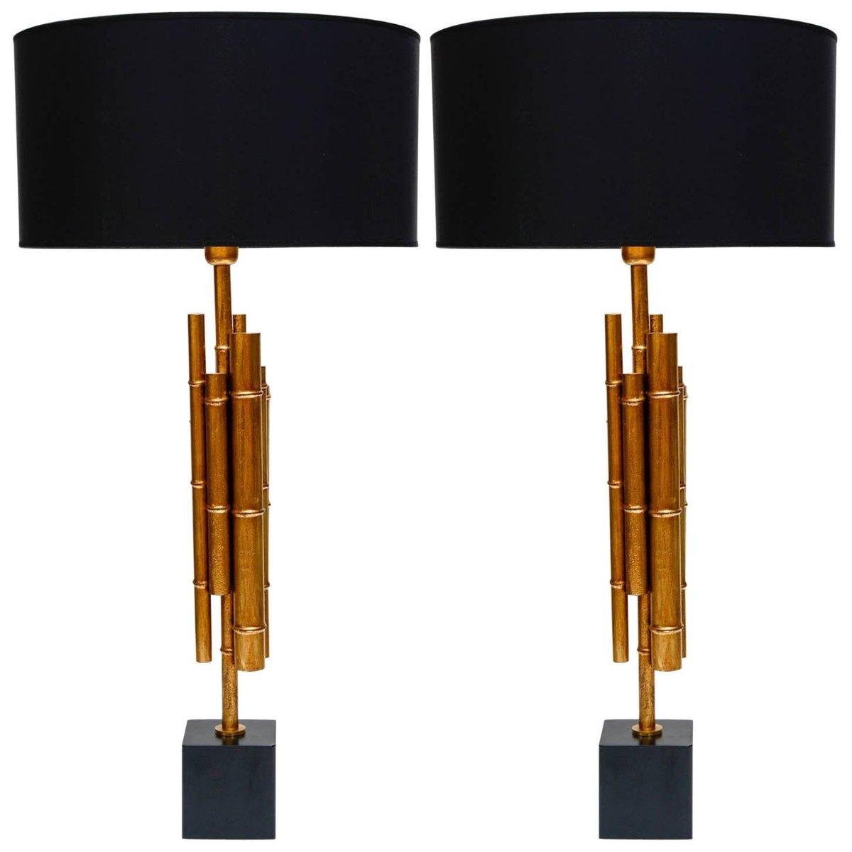 Vintage Bambus Tischlampen aus Metall & Messing, 2er Set