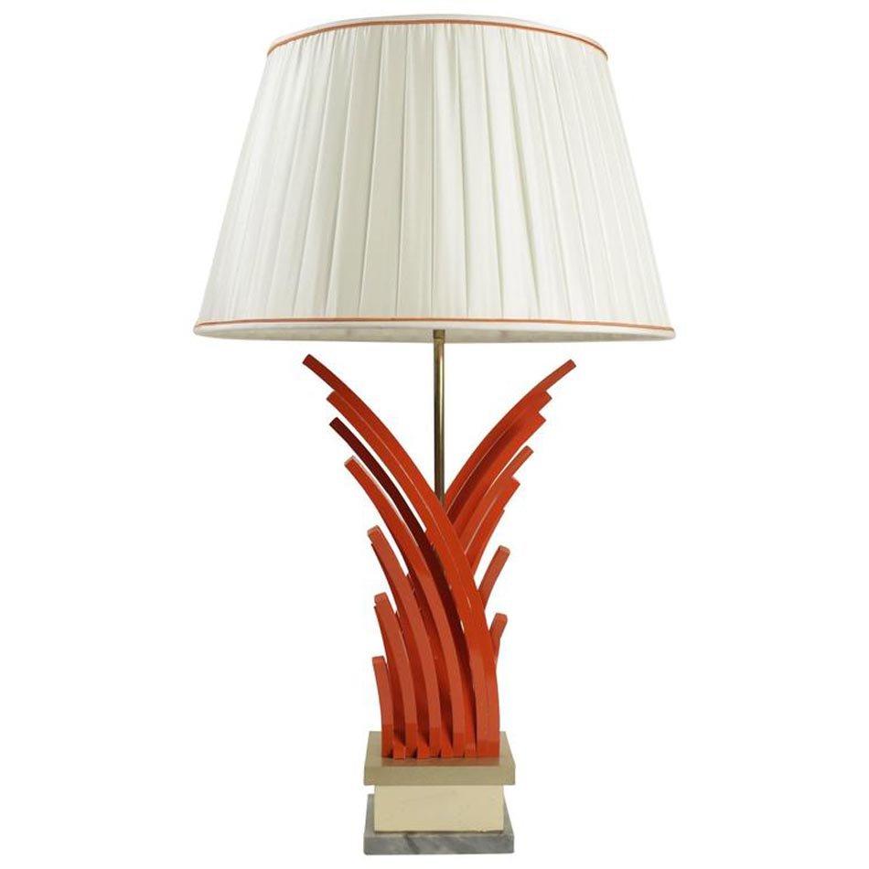 Tischlampe aus bemalten Metall, Blattgold & Marmor, 1970er