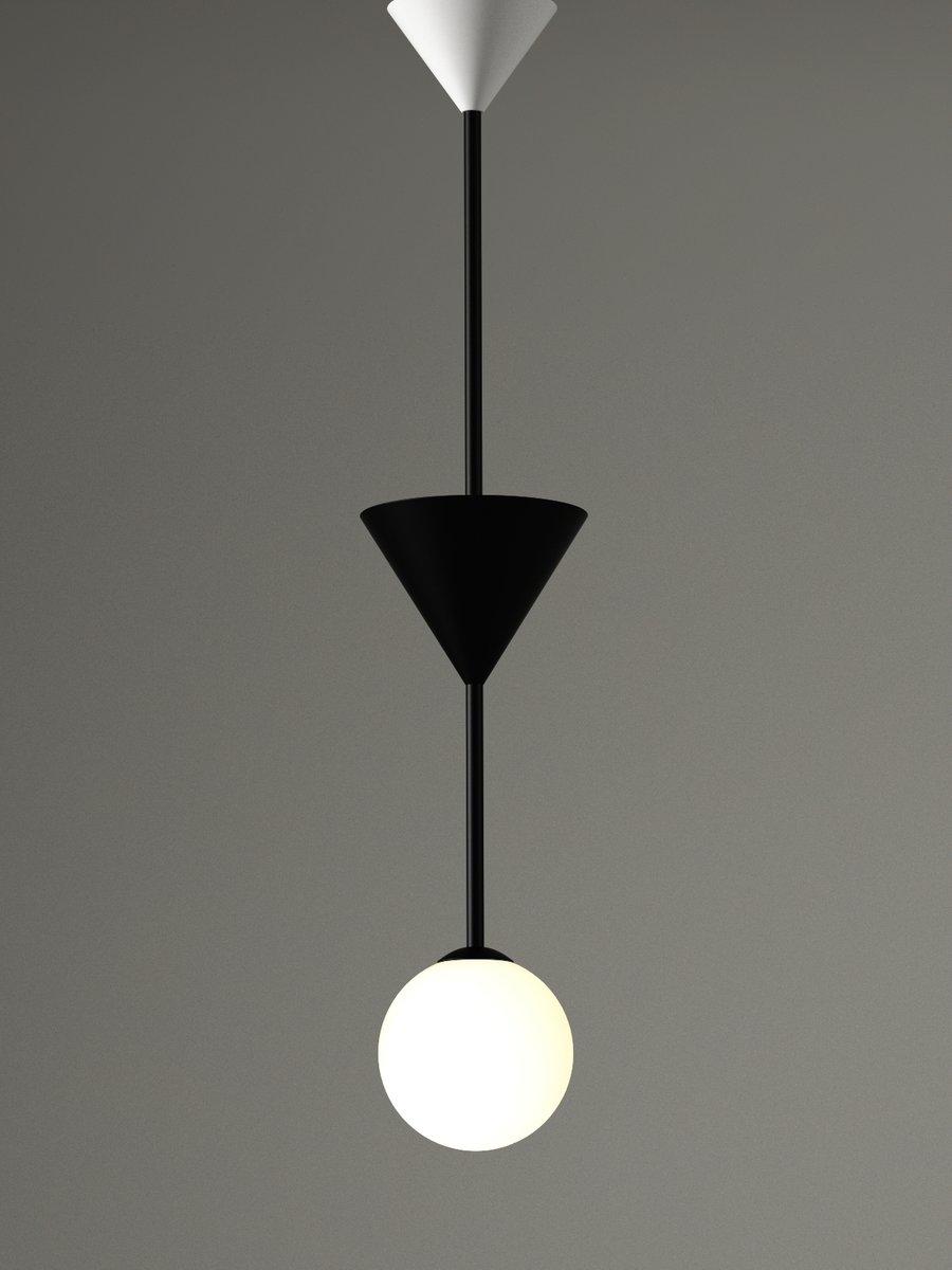 Many 2 Deckenlampe mit Kegel und Kugel von Atelier Areti