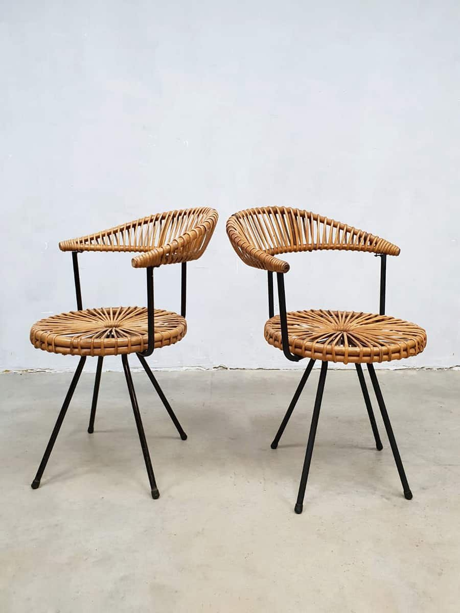 Delicieux Vintage Rattan Chairs By Dirk Van Sliedregt For Rohé Noordwolde, Set Of 2