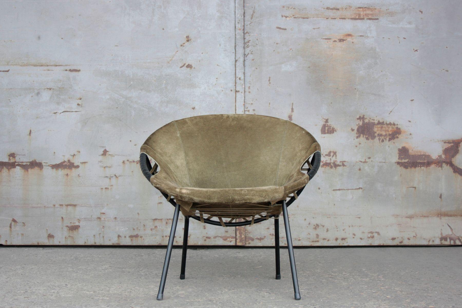 Balloon Chair aus grünem Wildleder von Lusch & Co, 1960er
