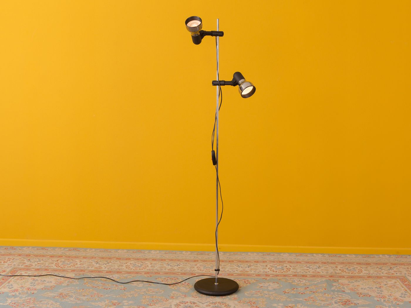 Floor Lamp with 2 Black Shades, 1970s