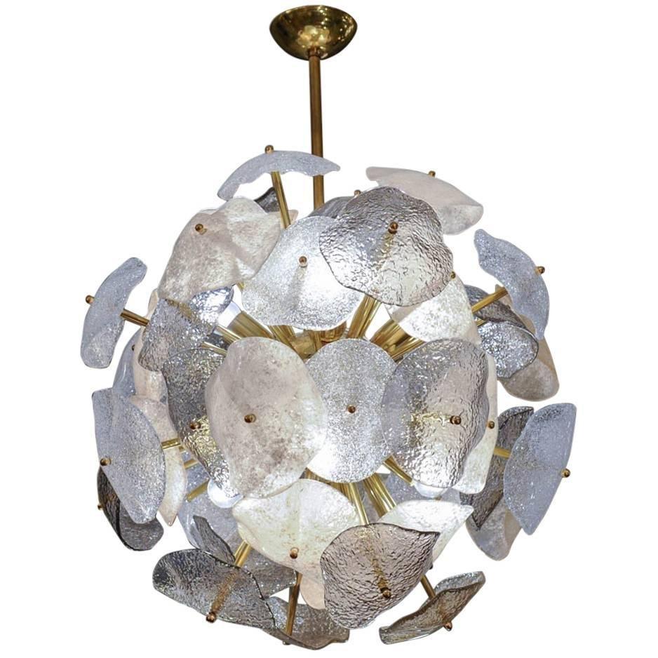 Messing Kronleuchter mit Murano Glas von Glustin Creation