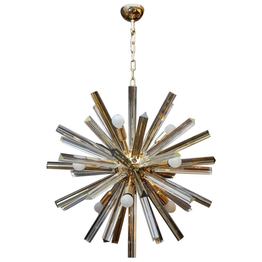 Runder Messing Kronleuchter mit Murano Glas von Glustin Creation